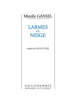 «Larmes de neige» de Mireille Gansel